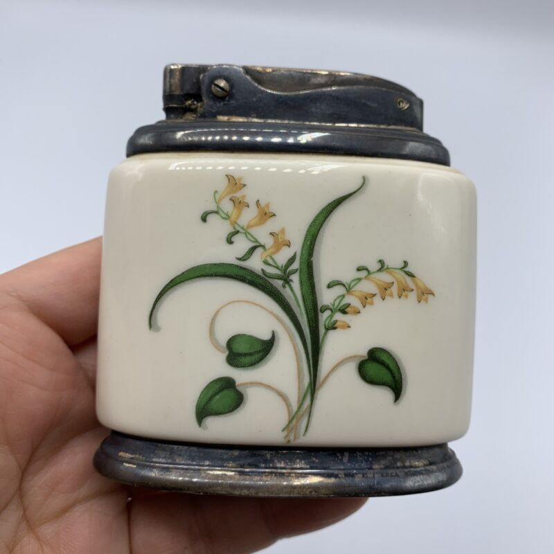 Vtg RONSON Table Lighter Minerva White Porcelain with Lily of the Valley