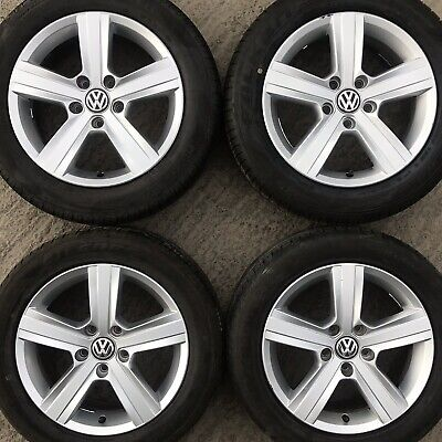 "Set 4 Genuine VW Golf Mk7 Dover 16"" Alloy Wheels Tyres 205 55 Caddy Van 5 spoke"