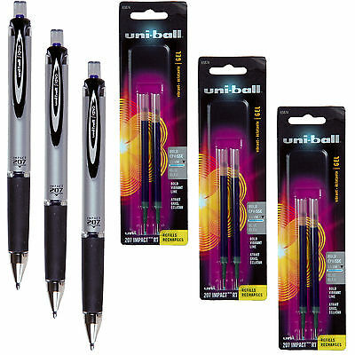 Uni-ball Signo Impact 207 Rt 65871 With Refills 65874 Blue Gel Ink 1.0mm Bold