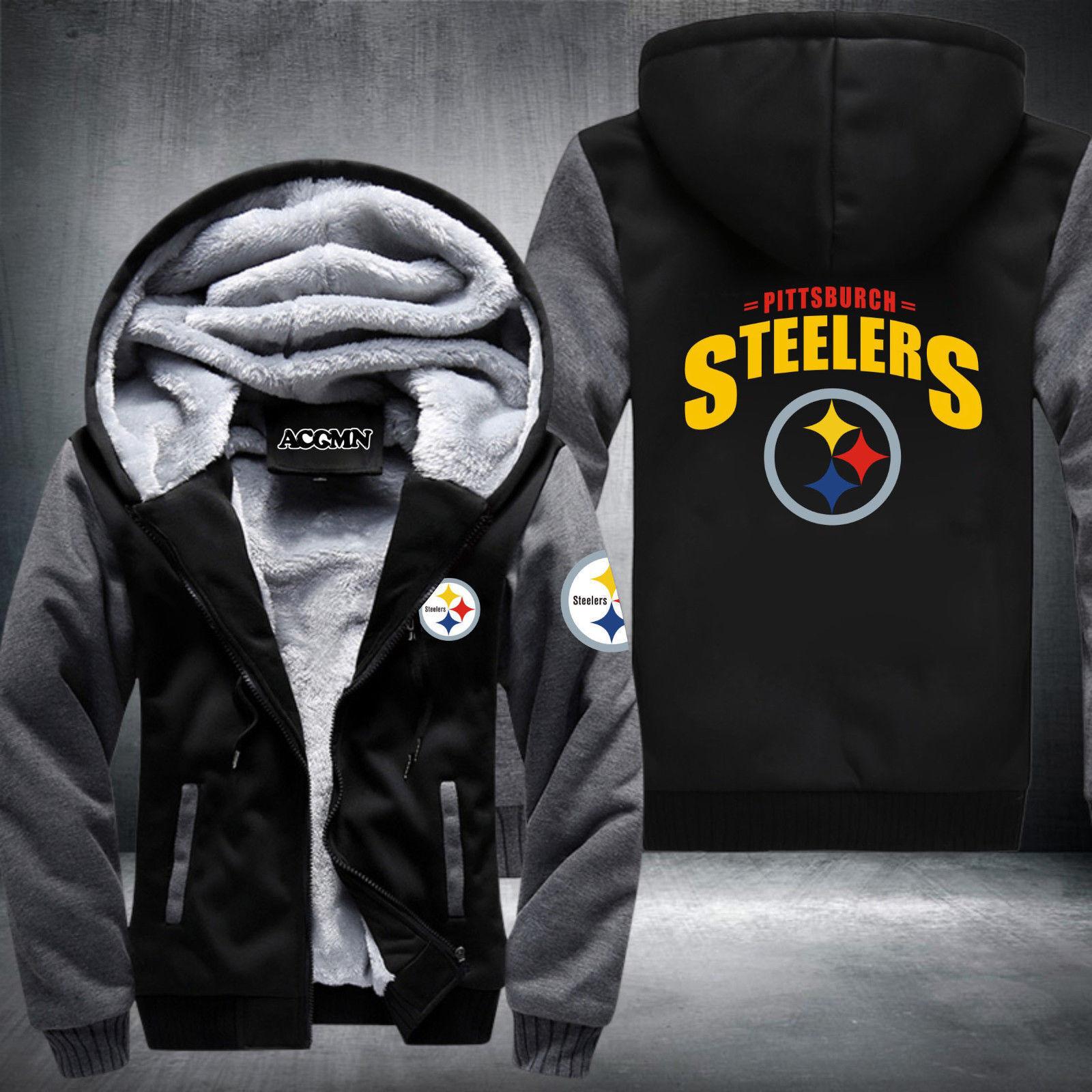 watch ea8e2 3d606 Details about Steelers Football Team Men Women Thicken Fleece Zipper Hoodie  Jacket Clothing
