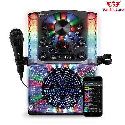 Karaoke Bluetooth System Singing Machine Microphone Audio Led Display USB