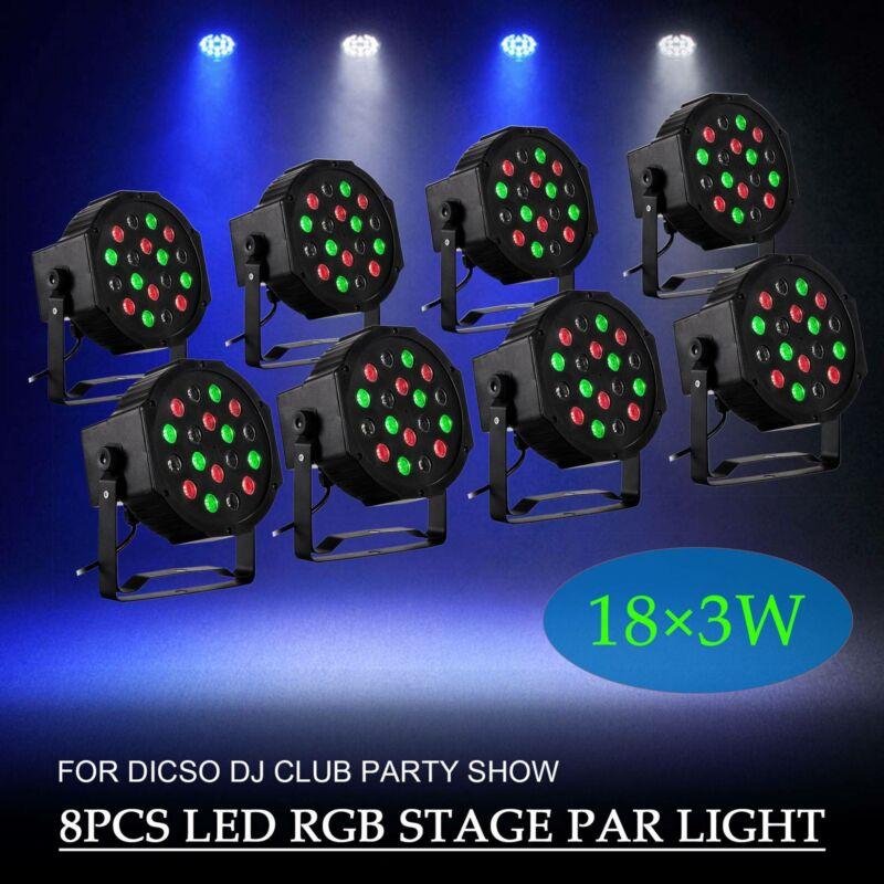 New 8PCS 18W RGB PAR64 DMX512 DJ Party Light Stage Lighting