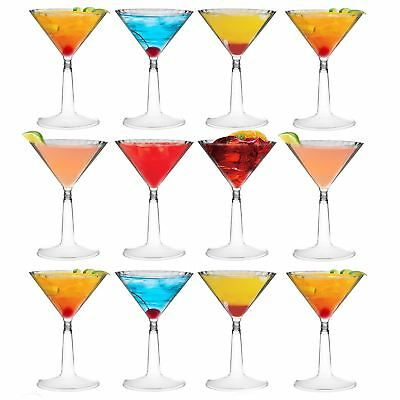 Plastic Martini Cocktail Glasses Outdoor Dining Disposable Cups, 170ml - x12