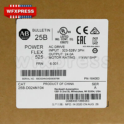 2020 New Sealed Allen-bradley Powerflex 525 11kw 15hp Ac Drive 25b-d024n104