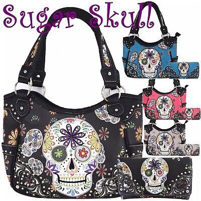 Sugar Skull Halloween Purse Punk Handbag Women's Totes Shoulder Bag Wallet Set ()