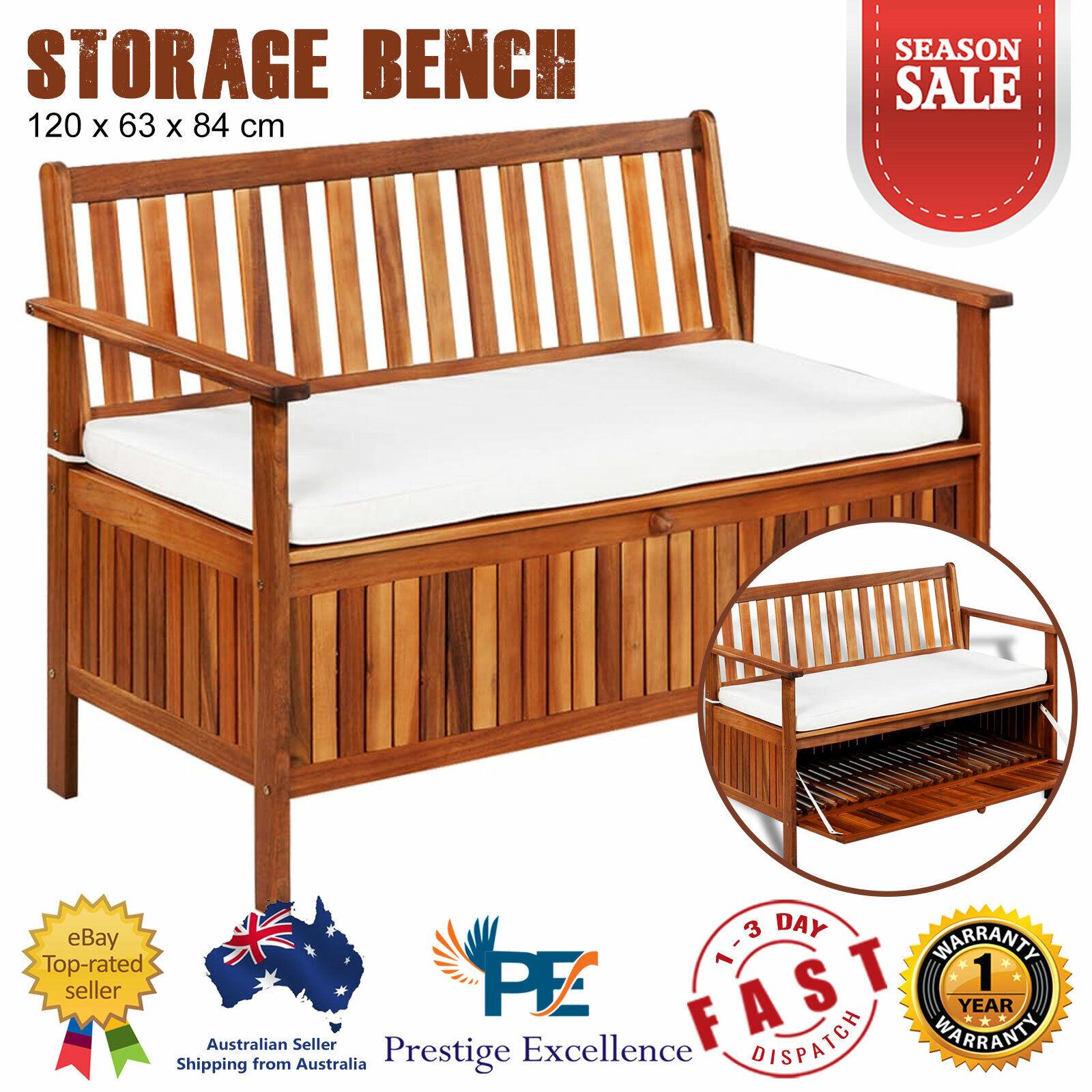 Garden Furniture - Wooden Outdoor Storage Bench Timber Furniture Garden Box Chest Chair Cushion NEW