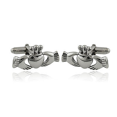 Men's Irish Claddagh Cuff Links - 925 Sterling Silver - Gift Mens Cufflinks NEW