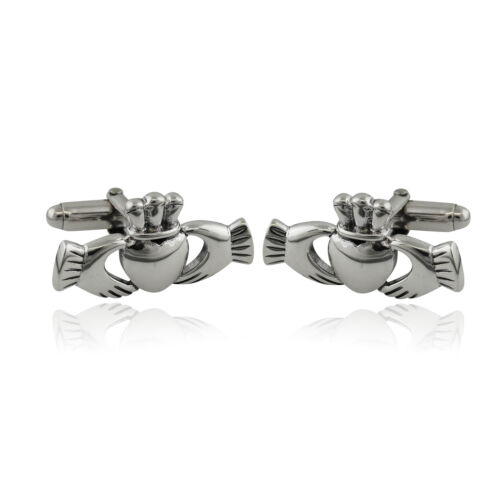 Men's Irish Claddagh Cuff Links - 925 Sterling Silver - Gift
