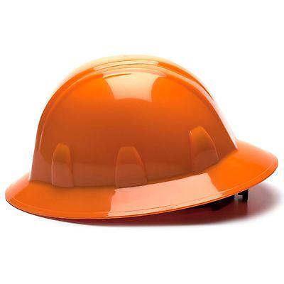 Pyramex Full Brim Hard Hat With 4 Point Ratchet Suspension Orange
