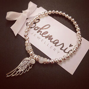 Silver & white jade angel wing beaded bracelet gemstone jewellery boho stacking