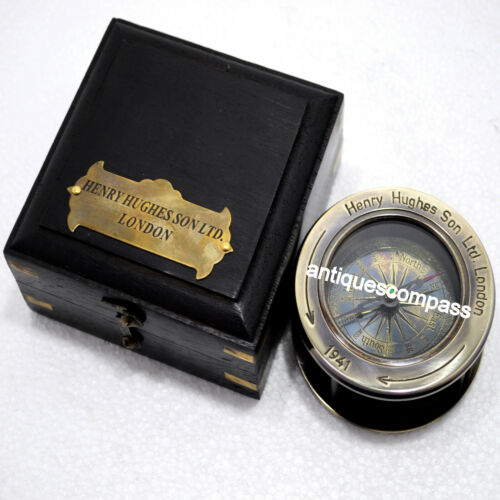 HENRY HUGHES SON ltd LONDON Antique Compass With Wooden Box Marine Collectible
