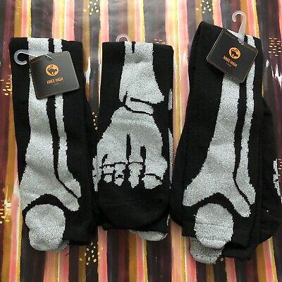 Lot of 3 Womens Halloween Knee-High Socks Bones Skeleton Glitter Metallic Black