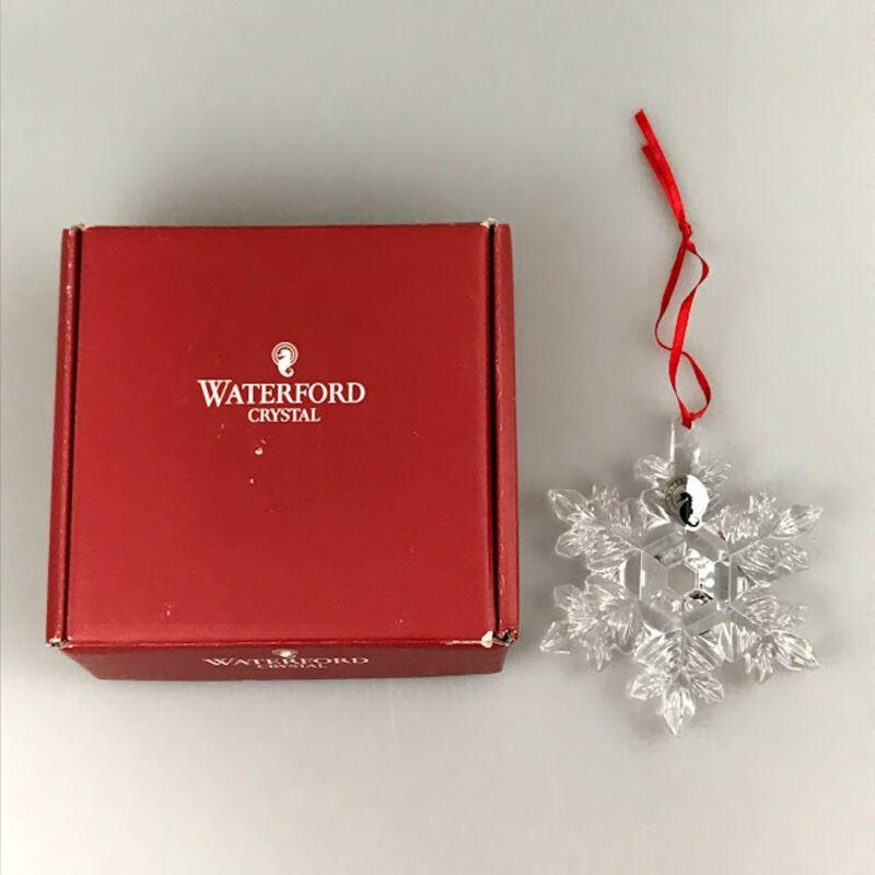 Waterford Crystal Christmas Tree Ornament Elegant Snowflake New w/ Box Seahorse