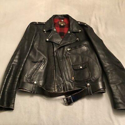 3cf30089feb7 Vintage 50s BucoJ24 WITH BELT !! Black Horsehide Biker Coat Jacket size 46