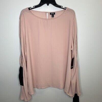 NWT Women's Blush Pink A.N.A Long Bell Sleeve Blouse Size XXL