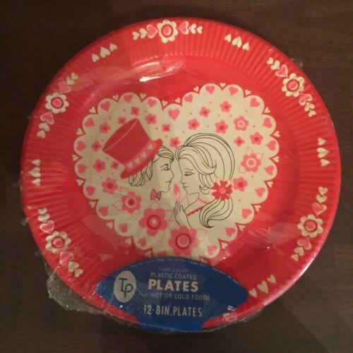 Vintage Plastic Coated Paper Plates Sealed Valentine Graphics