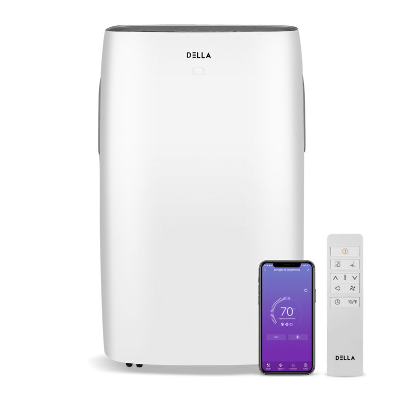 DELLA 14000 BTU Portable Air Conditioner Wifi for Rooms Up To 700 Sq. Ft.