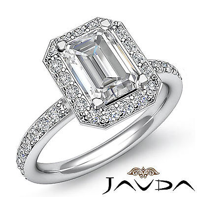 Halo Pave Set Women's Emerald Diamond Engagement Ring GIA Certified G SI1 1.56Ct