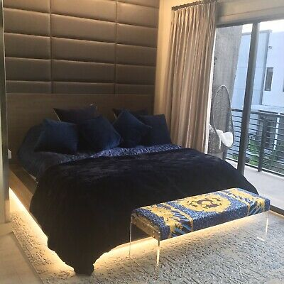 Lucite Bench Charles Hollis Style With Versace Blue Gold Medoza Upolstry