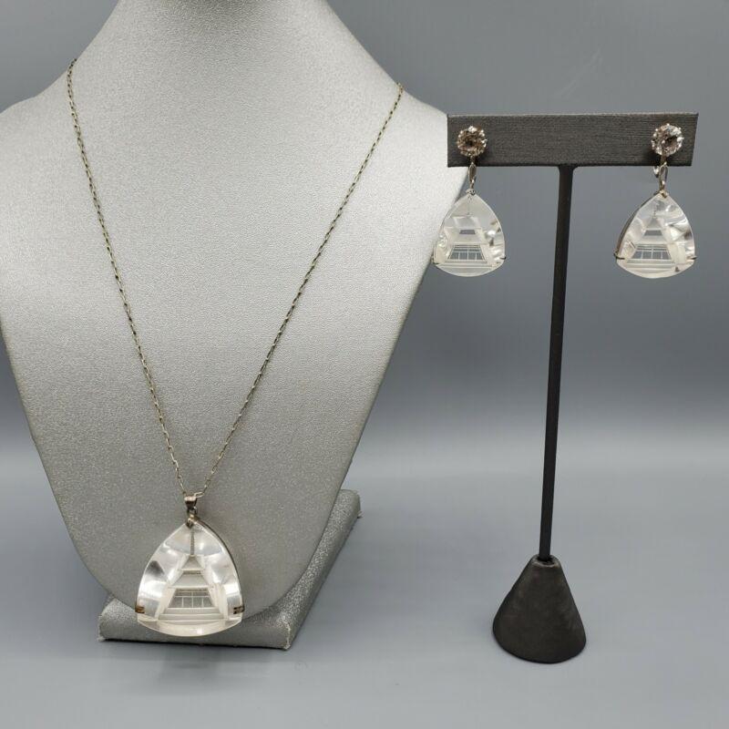 Japan Art Deco Rock Crystal Sterling Silver Intaglio Pagoda Necklace & Earrings