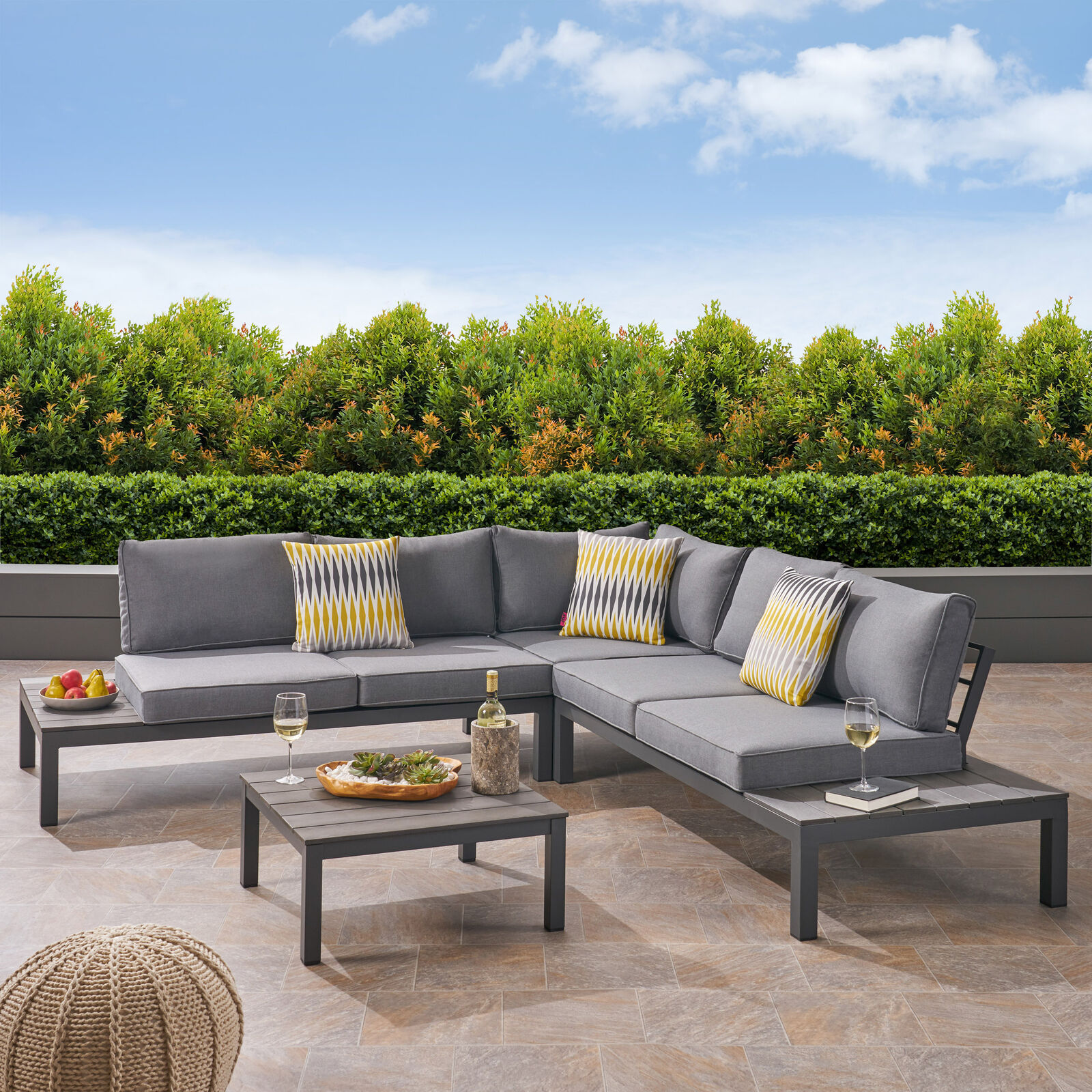 Blessen Outdoor Aluminum and Wood V-Shaped Sofa Set with Cushions Home & Garden