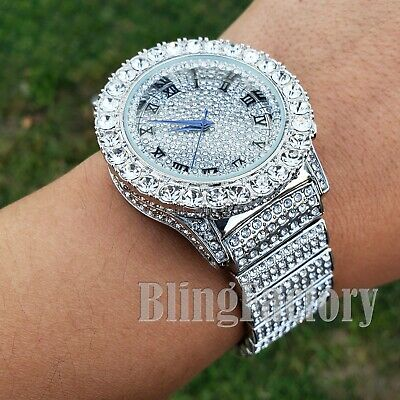 Men Hip Hop Iced Bling White Gold PT Rapper Lab Diamond Urban Metal Offset Watch
