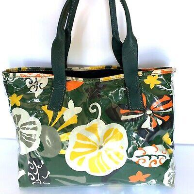 J. CREW Tote Bag Purse PVC Vinyl Green Yellow Multicolor Floral Retro Medium Green Pvc Tote Bag