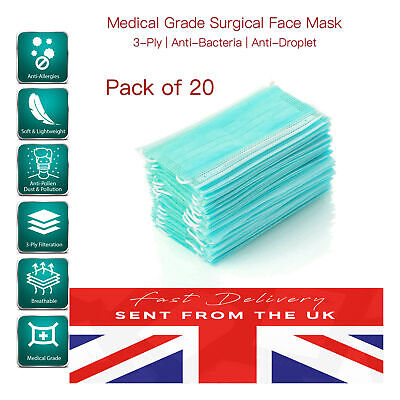 Premium Quality Surgical Masks Medical Grade Nose Band Sealed Bag [20 PACK]