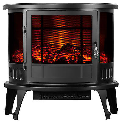 """23"""" Standing Electric Fireplace Stove Adjustable 1500W Heater Realistic Flame"""
