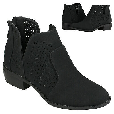 Womens Black Ankle Boots Cut Out Block Heel Back Zip Ankle Booties Size 5.5-10 Cut Out Ankle Boots