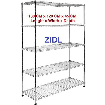 Real Chrome SHELVE Heavy Duty Rack Metal Steel Shelving 180 X 120 X 45 cm  segunda mano  Embacar hacia Spain