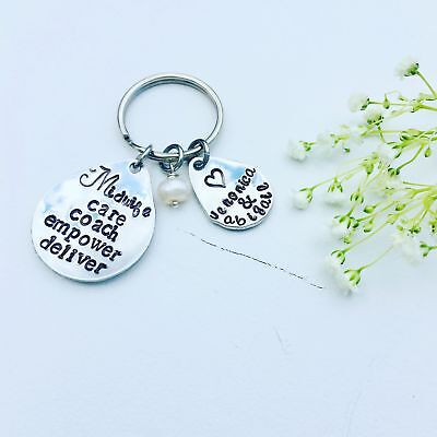 Customizable Keychains (Gift For Midwife Keychain Hand Stamped Customizable Care Coach Empower)