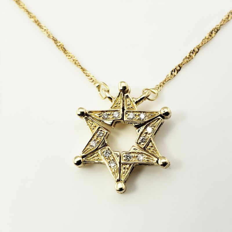Vintage Magnetic 14 Karat Yellow Gold and Diamond Star of David Necklace #9273