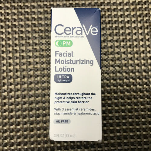 CeraVe PM Ultra Lightweight Facial Moisturizing Lotion, 3 oz.