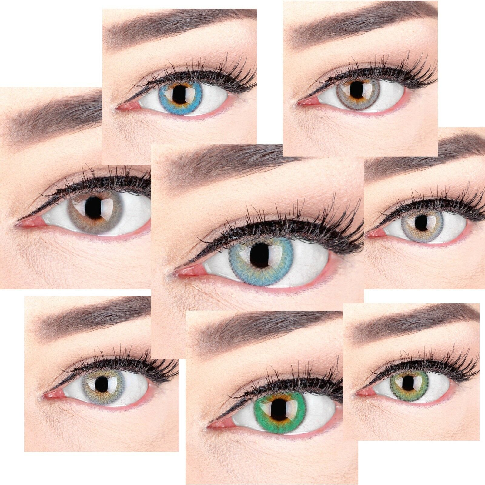 Farbige Kontaktlinsen mit ohne Stärke blau grün braun grau pink 3 Monatslinsen