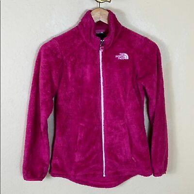 Euc The North Face hot pink teddy fleece girls full zip jacket Medium