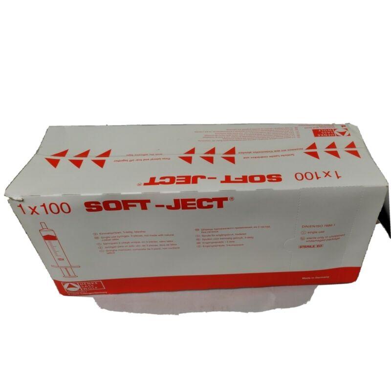 100 Soft-Ject 20ml Lubrication/Adhesive/Glue Syringes--new sealed box Exp 11/23
