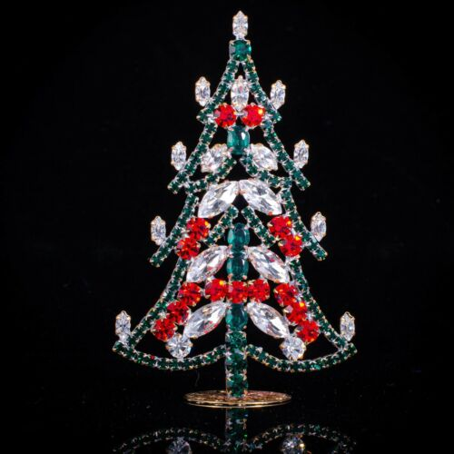 "Czech christmas tree - stand-up - rhinestone - 4.33"" x 2.75"""