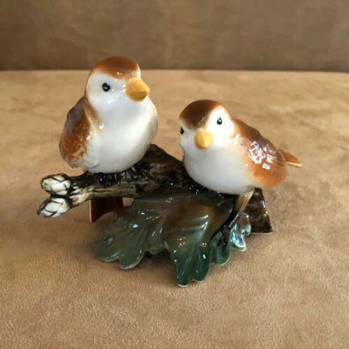 "Burton & bird on tree branch 5x3"" porcelain brown birds leaf figurine label"