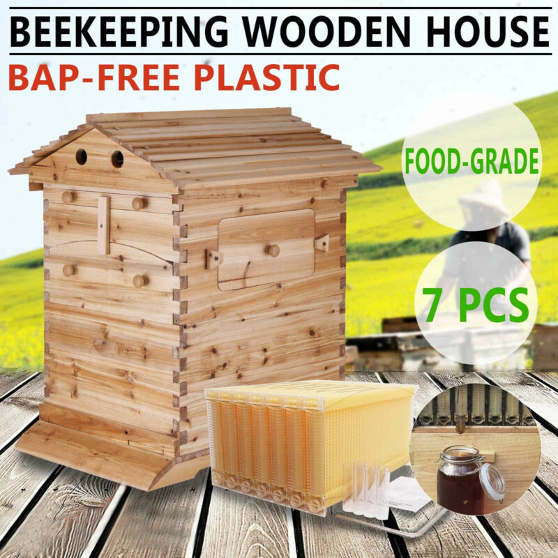 7PCS Auto Honey Beehive Hive Frames + Beekeeping Cedarwood Super Brood Box
