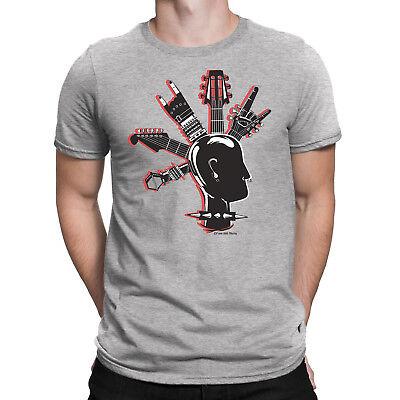 Mens T-Shirt Cool GUITAR MOHAWK Band Guitar Drums Rock Punk