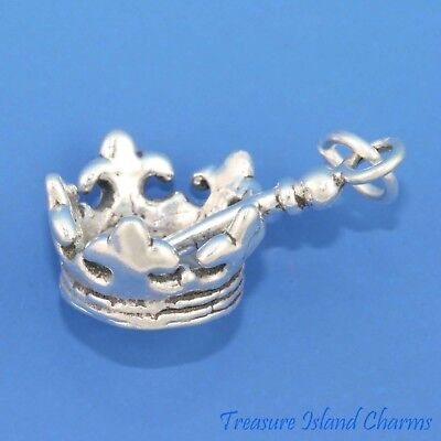 Queen Crown And Scepter (Queen Crown and Scepter 3D 925 Solid Sterling Silver Charm Sceptre MADE IN)