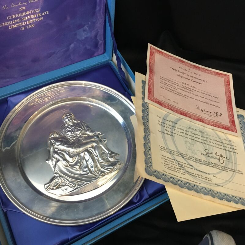 Vintage Sterling Silver Plate Pietà by Michaelangelo STAMPED w/ Display Box