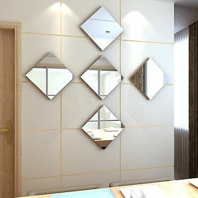 Home Decoration - 32X Mirror Tiles Self Adhesive Back Square Bathroom Decor Wall Stickers Mosaic