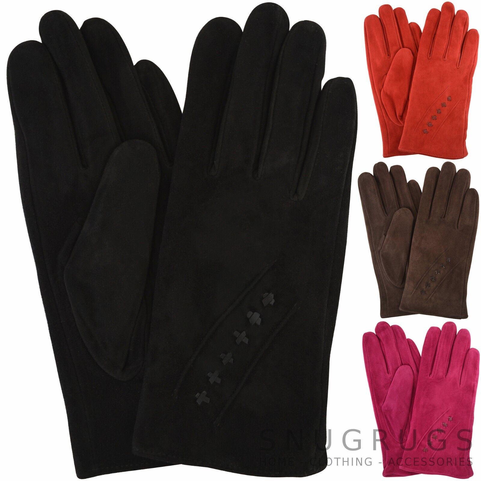 5b4bc2f56 Details about Ladies / Womens Soft Suede Gloves with Warm Fleece Lining and  Stitch Design