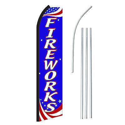 Fireworks Rwb - Advertising Sign Swooper Feather Banner Flag Pole Only
