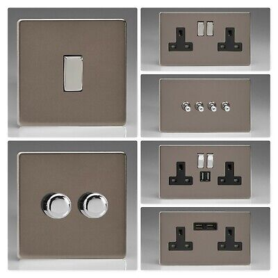 Varilight Screwless Pewter Light Switch Socket Dimmer Toggle Cooker Fuse (Pewter Dimmer)
