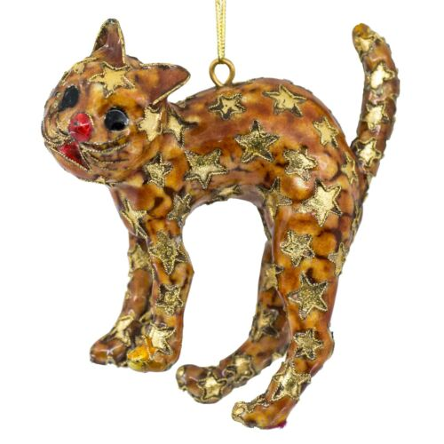 """Handcrafted Cloisonne Enameled Metal Cat Ornament With Gold Stars 4"""" High New!"""