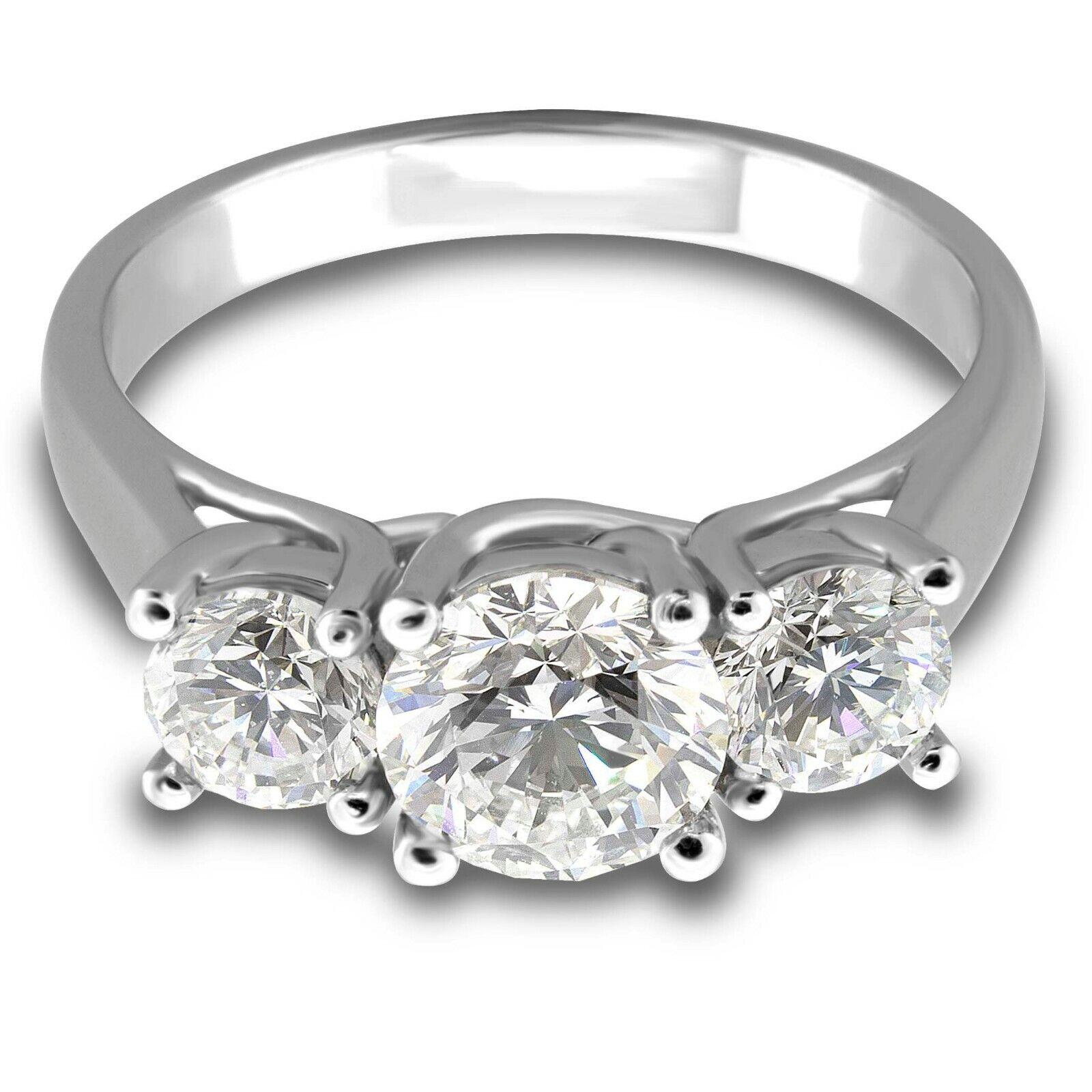 2.50 ctw H-SI1 GIA, Round Three-Stone Diamond Engagement Ring 14k White Gold