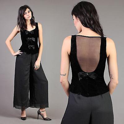 vtg TUXEDO black VELVET bow SHEER jumpsuit pants palazzo bell bottom 80s 90s XS